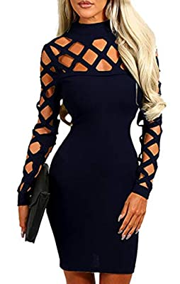 Very stretchy and comfy material.Does not wrinkle at all.spandex,polyester,cotton. Hollow out,Bodycon,Long sleeve,Lightweight,Solid color,Club,Backless,Cocktail,Sexy,Casual style,Evening Party dresses for women and ladies mini dresses. Super cute and...