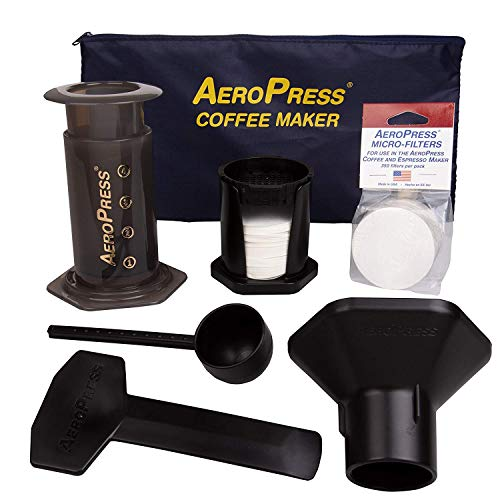AeroPress Coffee and Espresso Maker with Tote Bag and 350 Additional Filters - Quickly Makes Delicious Coffee Without Bitterness - 1 to 3 Cups Per Press 1