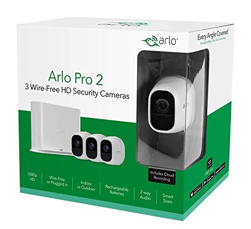 41Zs2WTEceL Bon plan Arlo Pro 2 | Caméra de Surveillance WiFi sans Fils - Pack de 3, Batteries Rechargeables & Accessoire Arlo Bras de F...