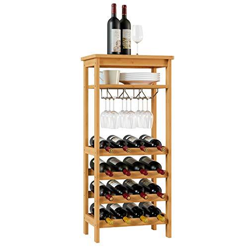 Homfa Cantinetta Portabottiglie di Vino in bambù per 4 Ripiani con 16 Bottiglie e 6-9 Bicchieri da Vino, Cremagliera...