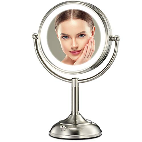 Professional 8.5' Lighted Makeup Mirror, 10X Magnifying Vanity Mirror with 32 Medical LED Lights, Senior Pearl Nickel Cosmetic Mirror,Brightness Adjustable(0-1100Lux) Desk Lamp Night Light Alternative