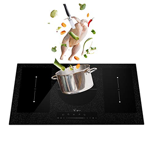Empava 36 Inch Electric Stove Induction Cooktop with 5 Booster Burners Including 2 Flexi Bridge Element Smooth Surface in Black