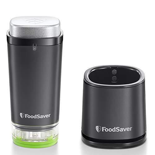 FoodSaver VS1192X Macchina per Sottovuoto Alimenti Salva Freschezza, 10 Sacchetti con zip Sottovuoto Riapribili, 1 Contenitore Salva Freschezza da 1,2 l, Portatile, Compatta, Ricaricabile, Nero