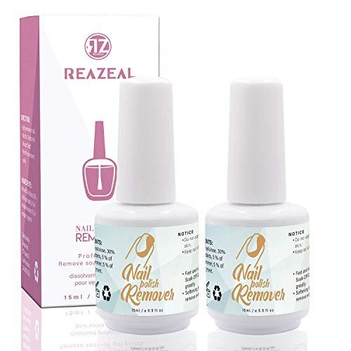 Reazeal 2pcs Magic Nail Polish Remover, Removes Soak-Off Gel Nail Polish, Easily & Quickly,Professional Non-Irritating Nail Polish Remover