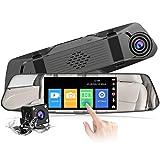 【2021 Nouvelle Version】CHORTAU Dashcam Voiture Rétroviseur Écran Tactile de 4,8 Pouces Full HD 1080P, Caméra de Voiture Grand Angle Caméra Avant et...