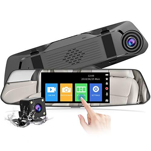 【2021 Nuova Versione】 CHORTAU Telecamera per Auto da 4,8 pollici Touchscreen Full HD 1080P Grandangolare, Telecamera Posteriore impermeabile, Dashcam con Sistema di Monitoraggio Inverso