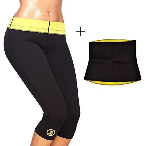 Sunshine Neoprene Combo Hot Shaper Slimming Belt and Pants for Men and Women (Black, Medium)