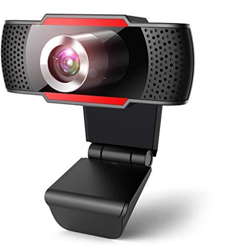 Webcam 1080P per pc con Microfono, web camera con microfono riduzione del rumore, vista Wide-Angle 105 per lo Streaming e le videoconferenze su Zoom, Skype, YouTube, Compatibile con Windows e Mac