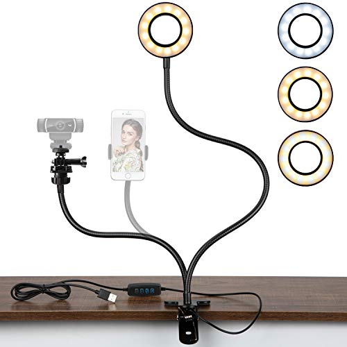 Webcam Light Stand for Live Stream, Selfie Ring Light with Webcam Mount for Logitech C925e, C922x, C930e,C922,C930,C920,C615,Brio 4K by Amada HOMFURNISHING