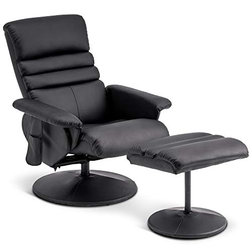 Mcombo Recliner with Ottoman, Reclining Chair with Massage, 360 Swivel Living Room Chair Faux Leather, 7902 (Black)