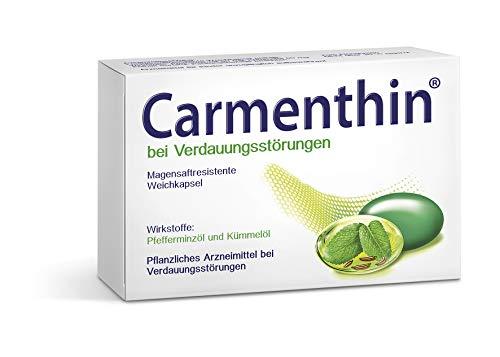 Carmenthin bei Verdauungsstörungen – Pflanzliches Arzneimittel mit Pfefferminzöl & Kümmelöl – 84 Weichkapseln