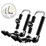 GUDE 2 Pieces J-Bar Kayak Roof Rack Unilateral Universal Double Folding Kayak Carrier for Surf Board, SUP, Snowboard, Canoe Top Mount on Car, SUV, Truck Crossbar with 2 Tie Down Straps Easy to Install