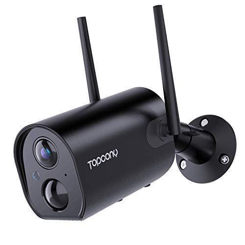 Telecamera Wifi Esterno Senza Fili con 10400mAh Batteria Ricaricabile, Topcony 1080P Telecamera di Sorveglianza con PIR Rilevamento Umano, Visione Notturna 20m, Audio a 2 Vie, IP66 Impermeabile