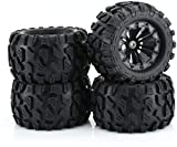 """RC Station 12mm Hex RC Wheels and Tires 1/10 Scale RC Monster Truck Buggy 2.8"""" PreGlued RC Tires and Rims with Foam Inserts, Assembled RC Tires and Wheels for 1/10 12mm Hex Traxxas, Etc Set of 4"""