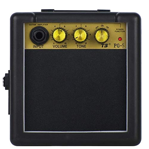 CHENTAOMAYAN Mini Guitar Amplifier Portable Guitar Amp with Back Clip Speaker Guitar Accessories 5W Electric Guitar Practice with Folk Practi (Color : Black)