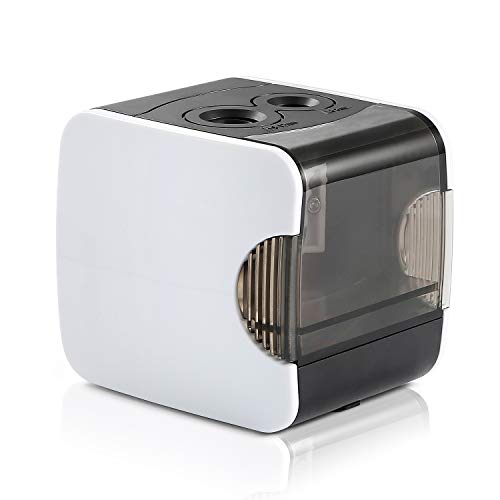 Electric Pencil Sharpener, CyanCloud Double Hole Rechargeable Automatic Pencil Sharpener, Battery or USB Powered for Kids, Artist, and Student White