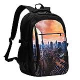 XCNGG Mochila USB con múltiples Bolsillos, Mochila Informal, Mochila Escolar Futuristic City on The Planet Travel Laptop Backpack with USB Charging Port Multifunction Work School Bag