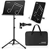 CAHAYA 2 in 1 Dual Use Sheet Music Stand & Desktop Books Stand Unique Musical Note Patent Design with Carrying Bag Foldable Tripod Portable Sturdy for Laptop Projector Books Tabletop Stand