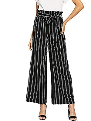 "Fabric has no stretch, waist has elasticity Elastic waist, belt, striped print, high waist, wide leg pants Fit for everyday dressing Model: Height:174cm/5'9"", Bust:81cm/32"", Waist:59cm/23"", Hip:84cm/33"", Wear: S Please refer to Size Chart in Product ..."