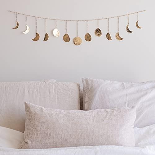 Moon Phase Wall Hanging Handmade Hammered Gold Metal 13 Moons 36'...