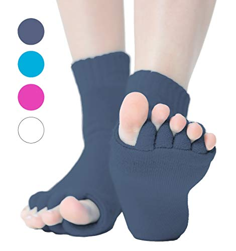 Zehenspreizer Socken 1 Paar - Zehenstrecker Hallux Valgus Pediküre (Grau)