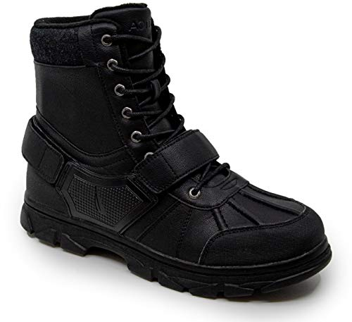 Nautica Men's Kressler Lace Up Adjustable Strap Winter Snow Boots Insulated Water Resistant Shoe-Kressler 1-Black-9.5