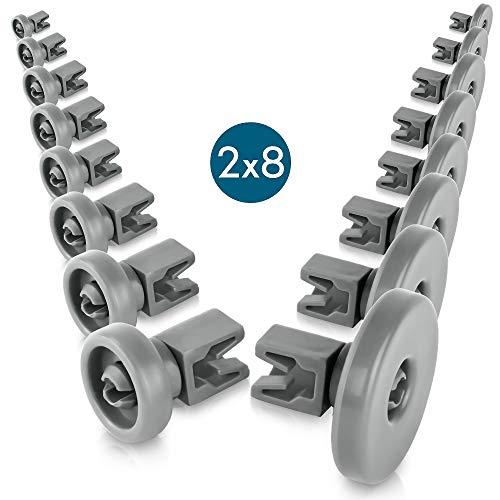Set di rotelle lavastoviglie cestello [cesto superiore / inferiore] - universale adatte a molte...