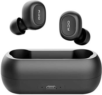 QCY T1 T1C True Wireless Earbuds with Microphone, TWS 5.0 Bluetooth Headphones,Compatible for iPhone, Android and Other Leading Smartphones, Black