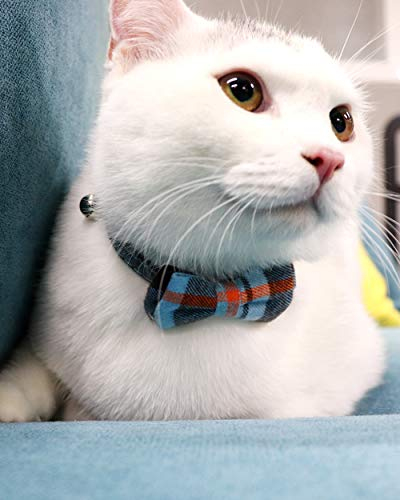 Joytale Breakaway Cat Collar with Bow Tie and Bell, Cute Plaid Patterns, 1 Pack Kitty Safety Collars,Haze Blue
