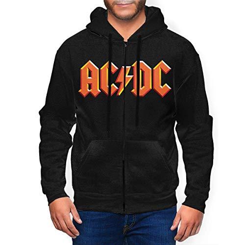 Shichangwei Felpa Pesante con Cappuccio,Men's Crew Sweatshirt, ACDC Band Logo Mans Hoodie Pullover Sweatshirt Slim-Fit Black