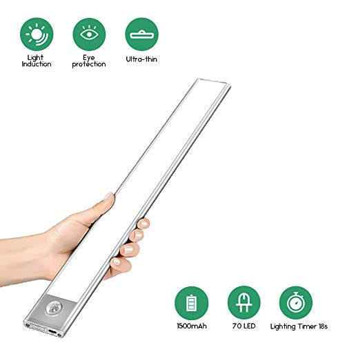 LED Schrankleuchten Sensor Licht, 70 LEDs Unterbauleuchte Küche Wiederaufladbar Schranklicht mit Bewegungsmelder, Unterbauleuchte für Theke, Kleiderschrank, Küche, Schublade, Flur, Treppe, Wohnmobil