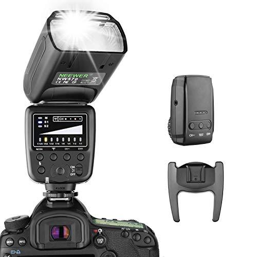 Neewer Flash Speedlite con 2.4G Sistema Wireless&15 Canali Trasmettitore per DSLR Canon Nikon Sony Panasonic Olympus Fujifilm Pentax e Altre Fotocamere DSLR con Standard Slitta Hotshoe (NW570)