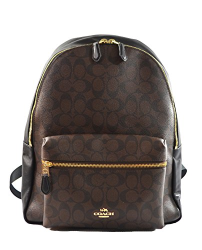 """41aQcd1mFNL * Coach Charlie Signature Brown Black Backpack , * Coated canvas / leather , * Inside zip and multifunction pockets , * Color:LIGHT GOLD/BROWN , * Measurements:12""""L x 14""""H x 5""""W"""
