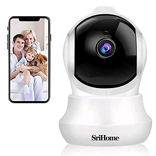 Telecamera di Sorveglianza WiFi SriHome SH020,1296p Telecamera IP Interno,Videocamera di Sicurezza per Animali Domestici/Bambini,Rilevazione di Movimento,Audio Bidirezionale,Visione Notturna