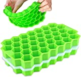 Ice Cube Trays with Lids,Arti-Cipes 2 Pack Food Grade Silica Gel Flexible 74 Ice Trays with Spill-Resistant Removable Lid,BPA Free Ice Cube Molds for Whiskey Storage,Cocktail,Beverages