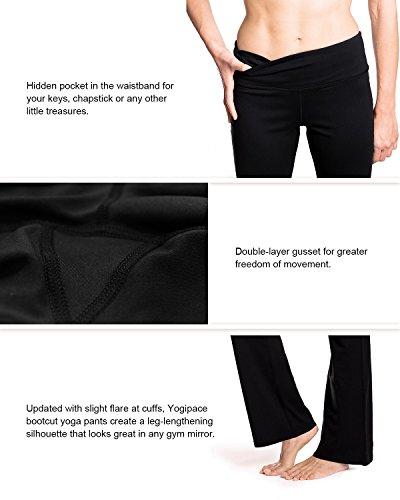 """Yogipace 27""""/28""""/29""""/30""""/31""""/32""""/33""""/35""""/37"""" Inseam,Petite/Regular/Tall, Women's Bootcut Yoga Pants Long Workout Pants, 31"""", Black Size XL 3"""