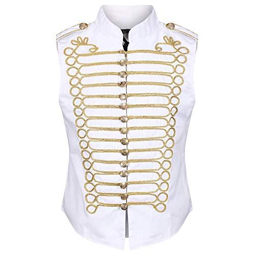 Ro Rox Men's White Gold Steampunk Gothic Military Sleeveless Parade Jacket - (Men's XS) (Apparel)