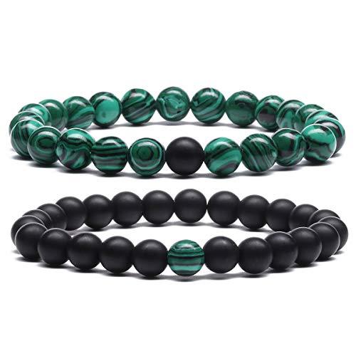 MengPa Mens Beaded Bracelets Lava Rock Stone for Women...