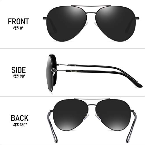 POJAKA Mens Driving Polarized Aviator Sunglasses for Men and Women Classic Mirrored Lens Al-Mg Frame