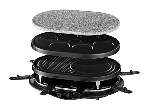 Russell Hobbs Raclette Multi Fiesta (bis 8 Personen, inkl. 3 Grillplatten: Naturstein, antihaftbeschichtete Grill - Platte, Pancakes / Pfannkuchen Platte), 1200W, Pizza Grill, Tischgrill 21000-56