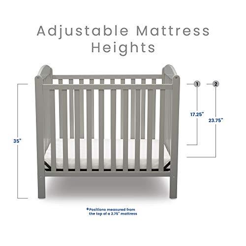 Product Image 11: Delta Children Emery Mini Convertible Baby Crib with 2.75-inch Mattress, Grey