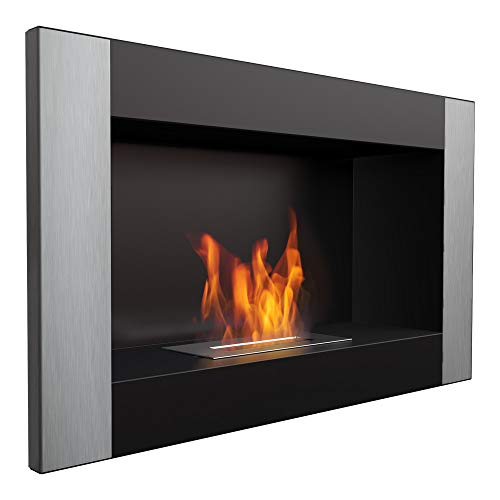 Kratki bio Ethanol Fireplace Decorative Wall Fireplace Golf Black Vertical 374mm x 648mm TÜV - Rhineland Approved