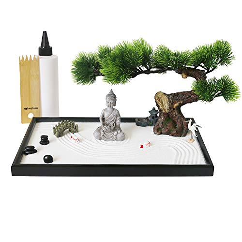 Japanese Tabletop Meditation Zen Garden Gift - Tabletop Rock Sand...