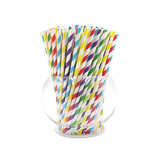 Christmas Party Supplies Paper Drink Straws Biodegradable - 100 Pcs for Mickey Mouse Party Supplies, Bulk Straws with 8 Different Colors for Party, Birthday, Wedding,Bridal,Baby Shower,DIY Idea