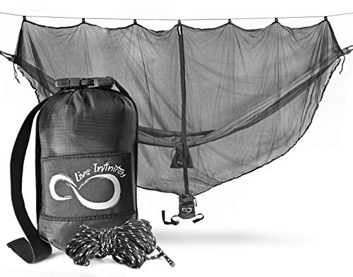 Extreme Protection Lightweight Hammock Mosquito Bug Net– 11' Long by 5' - Perfect Netting To Keep Out No See Ums, Mosquitos & All Bugs –Universal For All Nylon Camping Hammocks- X-L Attached Pouch