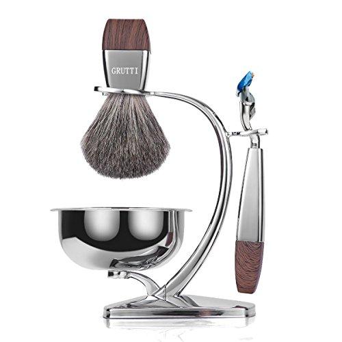 Set regalo per uomo GRUTTI Razor, kit per rasoio manuale con supporto resistente e ciotola per sapone e pennello da barba e rasoio in tasso compatibile con Fusion 5