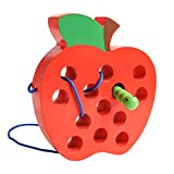 【CHALLENGING & FUN】USATDD Wooden Lacing Big Apple Toy is a new kind of learning toy for Toddler, designed to develop Lacing and sewing skills.The end of the thread is made of wood. This makes the sewing easier and transforms the experience into a fri...