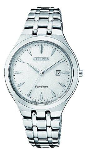 CITIZEN Damen Analog Solar Uhr mit Edelstahl Armband EW2490-80B