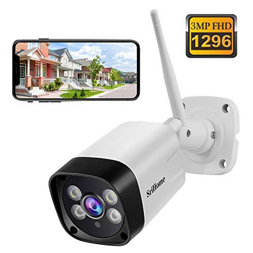 Telecamera di Sorveglianza WiFi SriHome SH035, Videocamera 1296P Esterno, Telecamera di Sicurezza con Visione Notturna IP66 Impermeabile Rilevazione Movimento 2 Vie Audio, Supporto per PC Android iOS