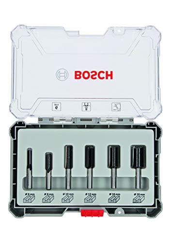 Bosch Professional 6tlg. Nutfräser Set (für Holz, Zubehör Oberfräsen mit 8 mm Schaft)